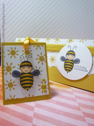 Little Baby Bumblebee Baby Card and Matching Tag